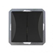 WP - 2 OP  Выключатель двойной черный мат OPAL