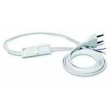 PWS-11/1,9 Вилка с кабелем и тумблером 2*0.75 1.9m белая