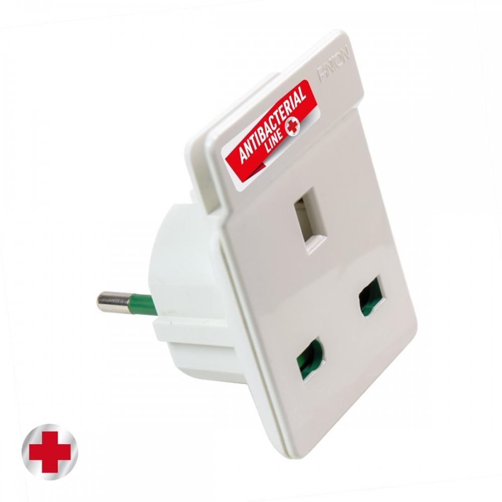 Адаптер антибактериальный для вилки S31 16A к розетке UK с держателем для мобильного телефона, белый