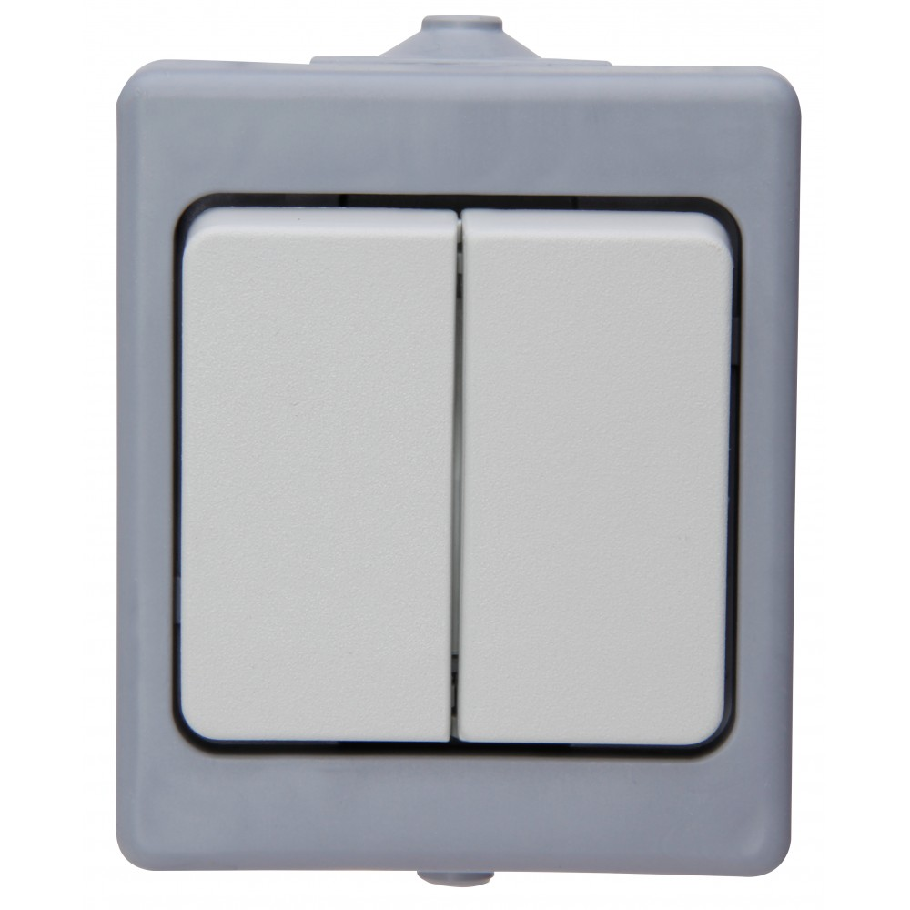 5685.0200.2 OSLO Выключатель двухклавишный IP44 белый